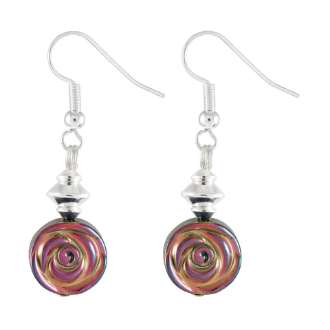 Multicoloured electroplated hematite disc earrings with hints of pink, green, gold and bronze.