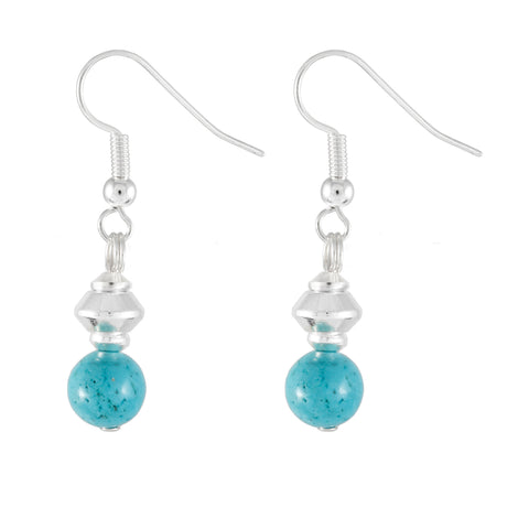 Small Round Stabalized Turquoise Drop Earrings
