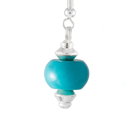 Turquoise Barrel Shaped Drop Earrings with Silver Plated Earring Hooks