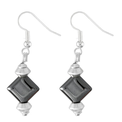 Diamond shaped metallic grey hematite drop earrings with silver plated hooks