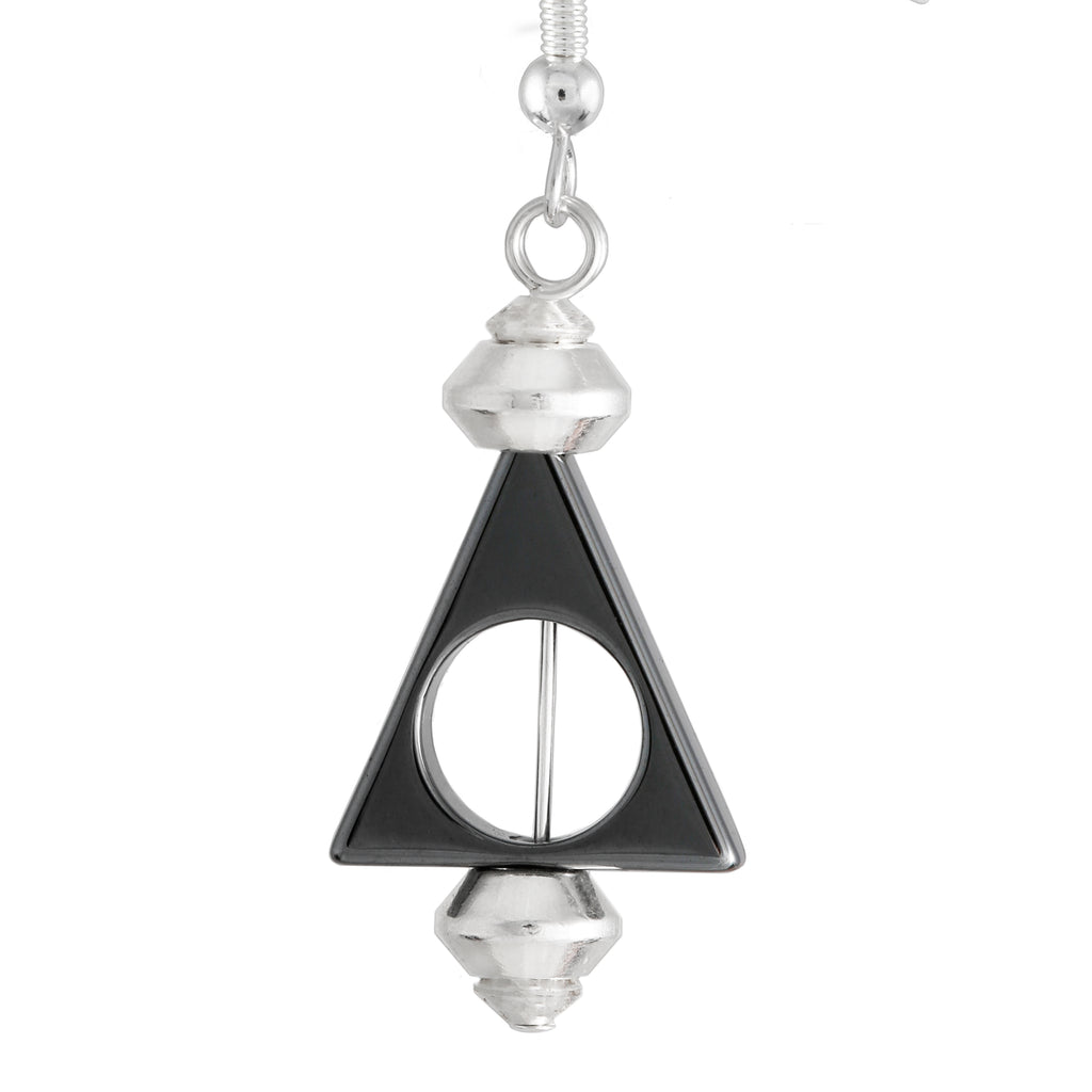 triangular dark metallic grey hematite drop earrings with silver plated nickel safe hooks