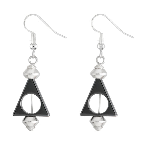 Hematite dark grey triangular drop earrings with silver plated hooks