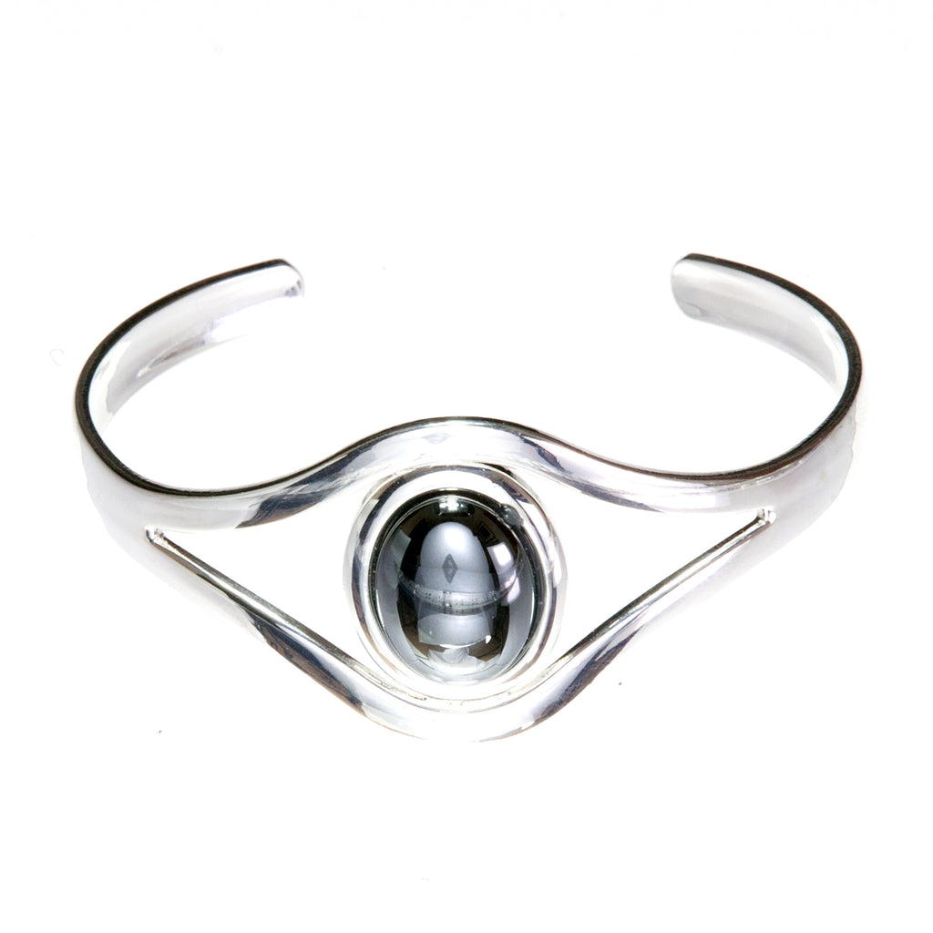 Hematite Grey Adjustable silver plated Bangle/Cuff with an 18 x 13mm cabochon