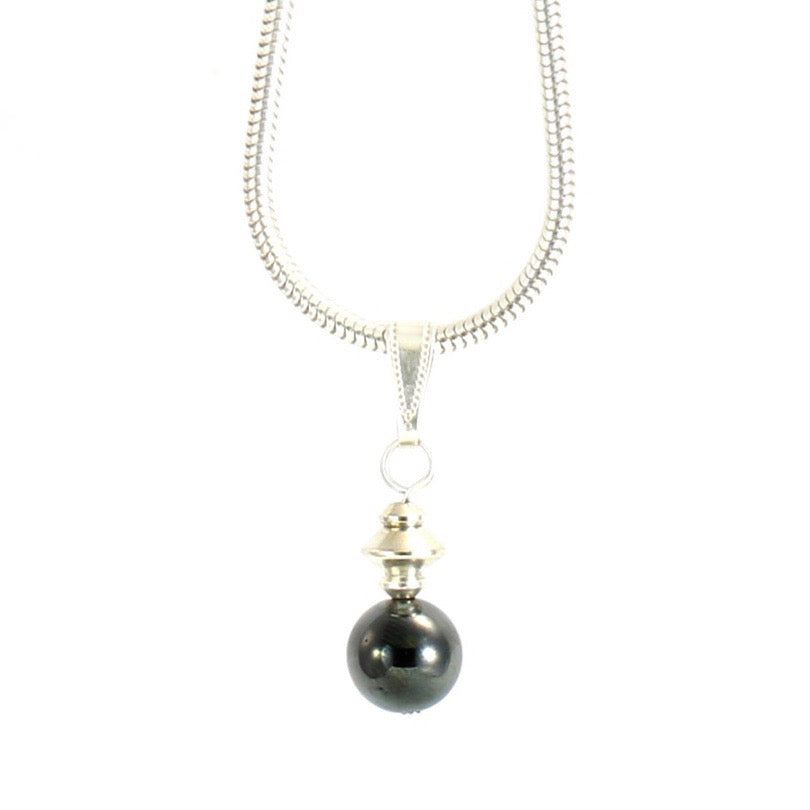 Hematite Grey Small Globe Necklace with Silver Plated Snake Chain