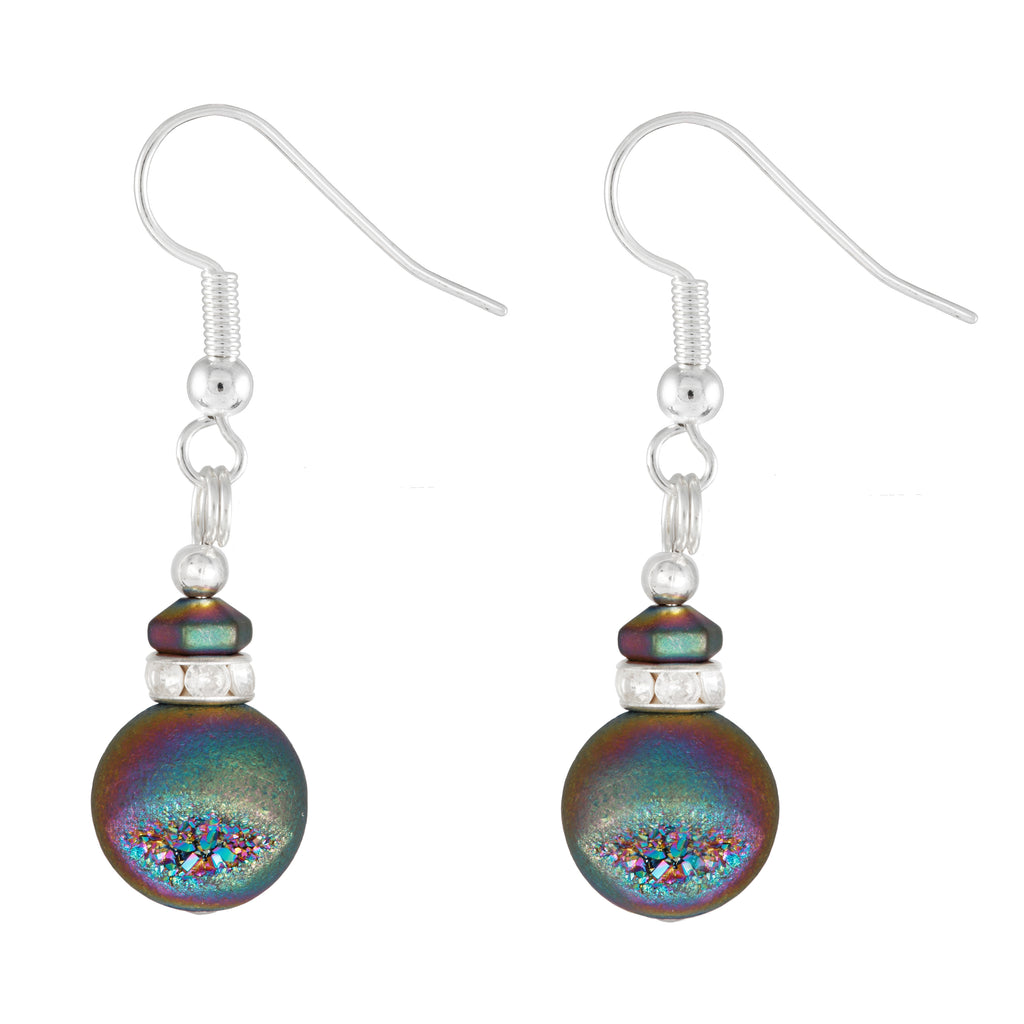 Electroplated Multi Coloured Globe Agate Earrings