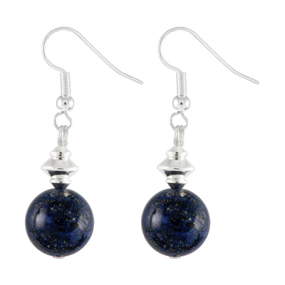Lapis Lazuli Dark Blue Globe Earrings with Silver Plated Earring Hooks