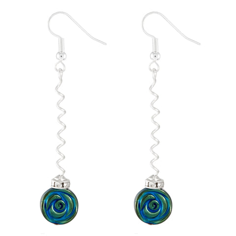 Metallic Blue/green disc earrings on a long silver plated spiralled wire.  The gemstone is hematite which is electroplated to give this stunning effect.