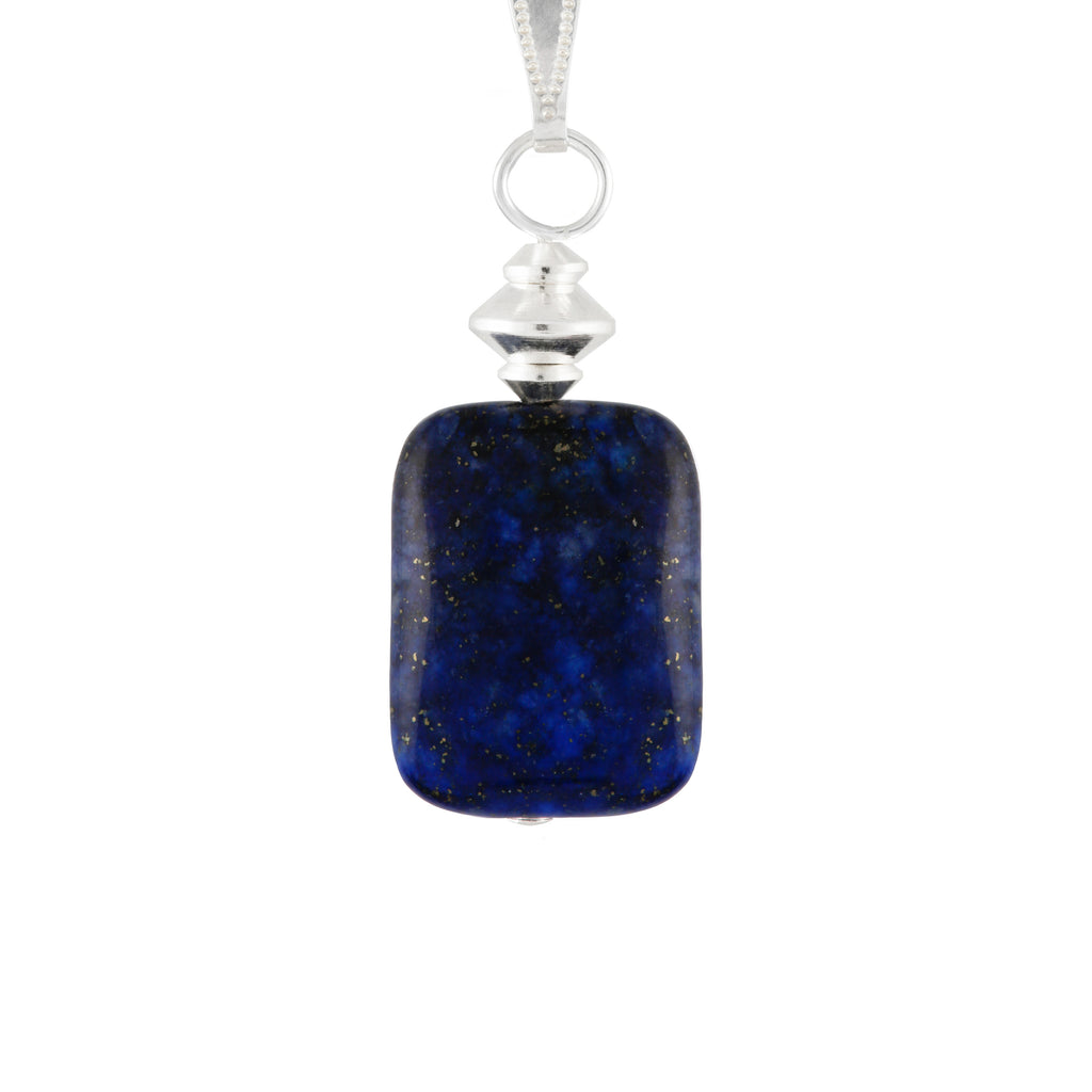 Lapis Lazuli small Blue Rectangular Necklace - a rich Blue Gemstone