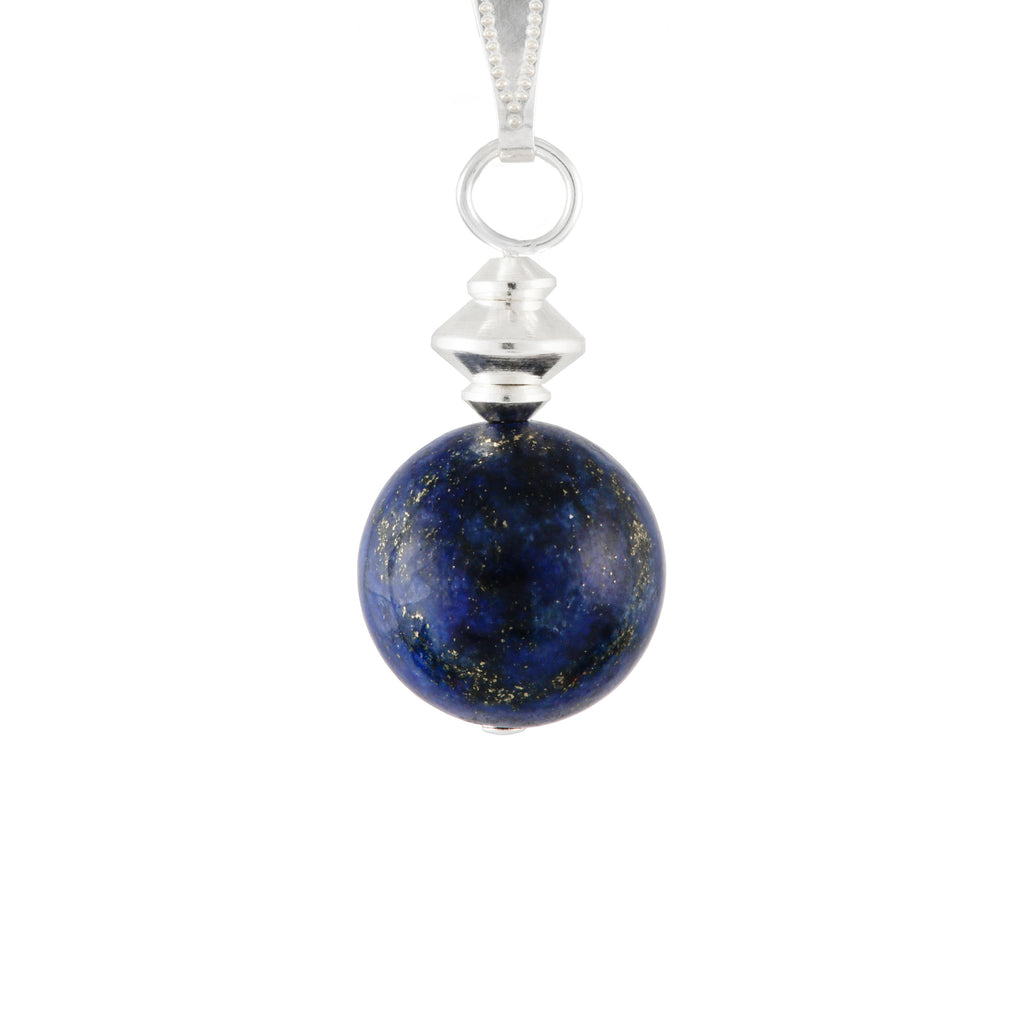 Lapis Lazuli Blue small round necklace on silver-plated chain or faux suede lace