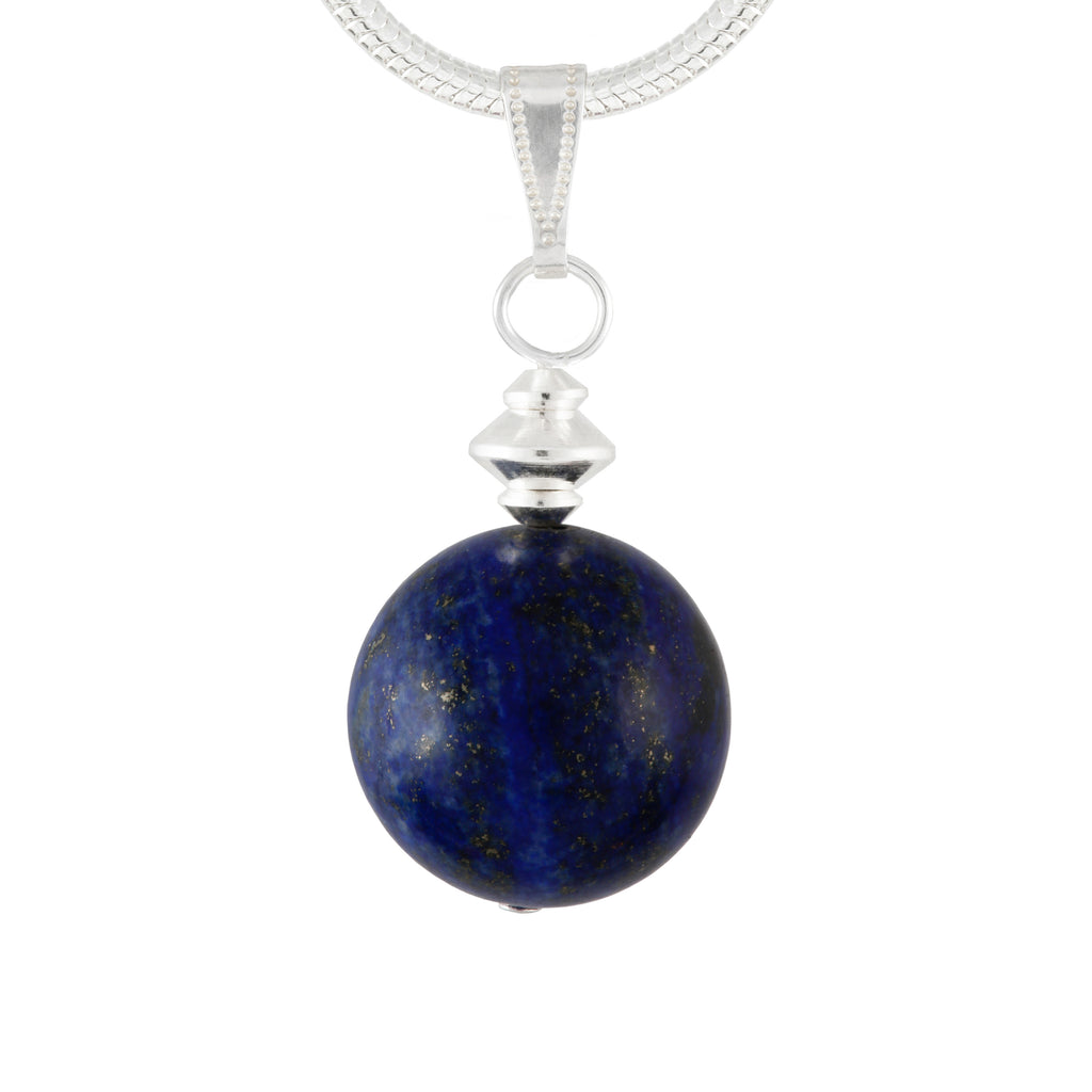 Lapis Lazuli Blue Large Globe Necklace on Silver Plated Chain or Faux Suede Black Lace
