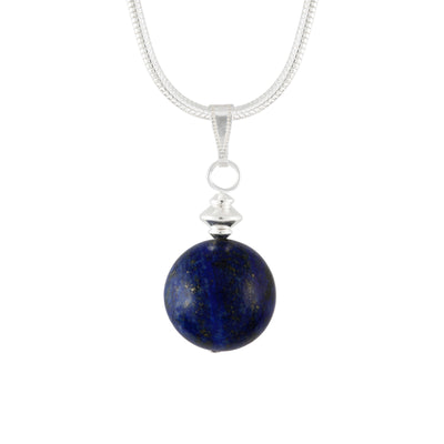 Lapis Lazuli Blue Large Globe Necklace on Silver Plated Chain or Faux Suede Lace