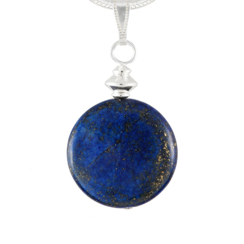 Lapis Lazuli Blue Disc Pendant on silver plated chain or black faux suede lace