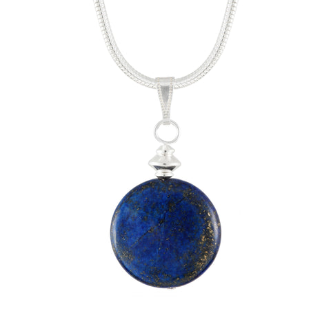 Lapis Lazuli Blue Disc Pendant on silver plated chain or faux suede lace