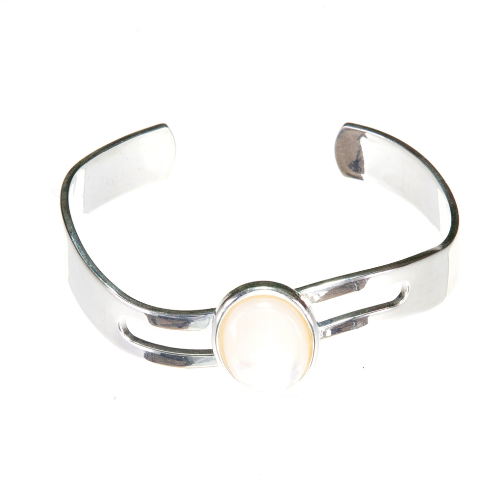 Adjustable wave bangle  Bracelet Cuff, Flattering on the Wrist with a Cream Mother of Pearl Oval Cabochon.