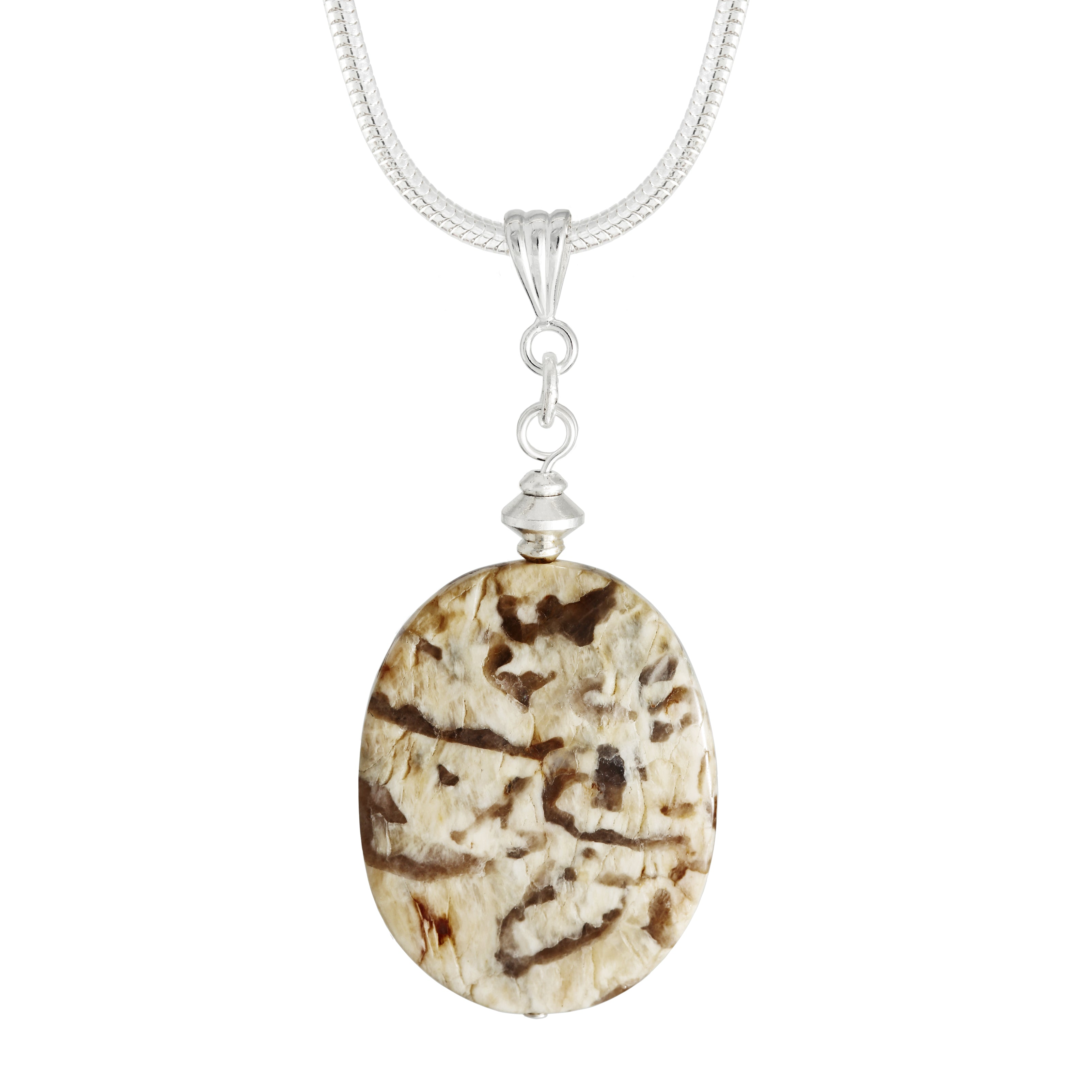 Graphic Feldspar a Cream Oval Stone with Brown markings.  Each necklace has totally individual patterns and co-ordinates with Tiger's Eye jewellery.