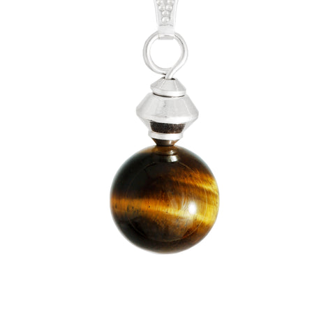 Golden Brown Tiger's Eye Small Globe Necklace