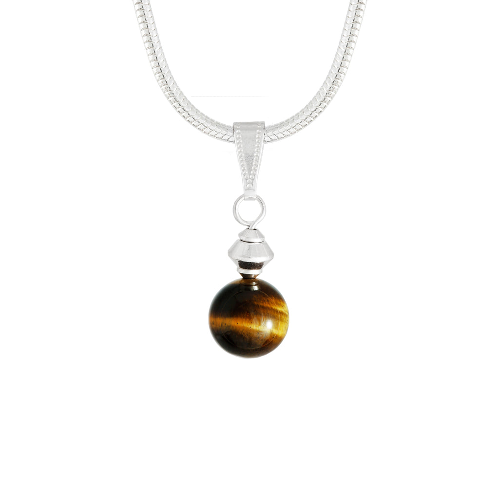 Tiger's Eye Small Golden Brown Round Necklace