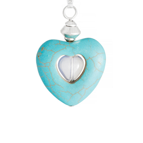 Turquoise Magnesite Heart Necklace with Opalite Centre