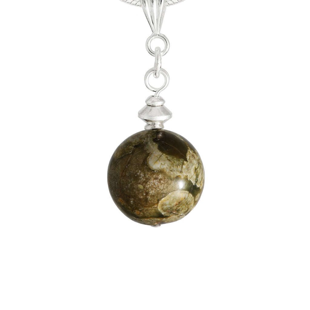 Rhyolite/Rainforest Jasper, Green Globe Necklace