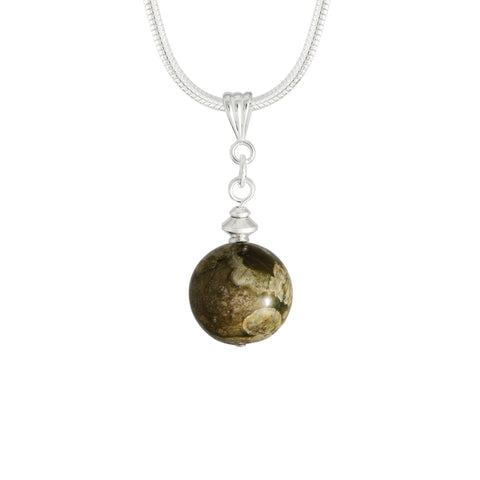 Rhyolite Green Globe Necklace - Also called Rainforest Jasper
