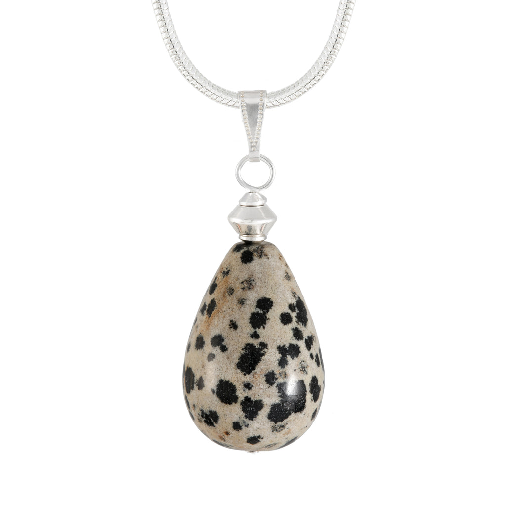 Dalmation Jasper Large Teardrop Necklace with silver plated snake chain