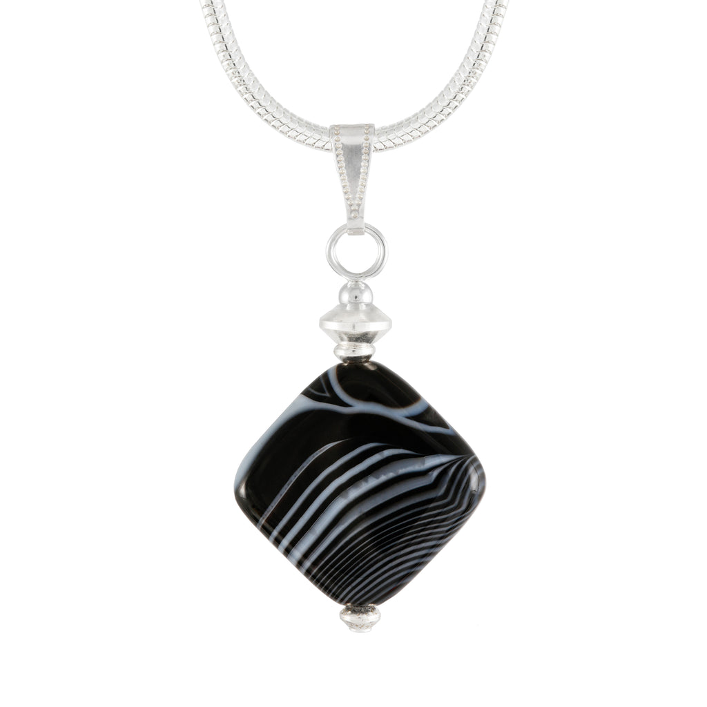Black and White Banded Agate Necklace, diamond shaped agate pendant on silver plated snake chain