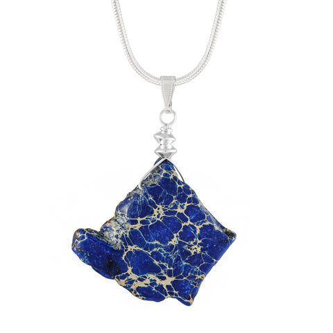Jasper Necklace With Blue Tinted Irregular Shaped Stone