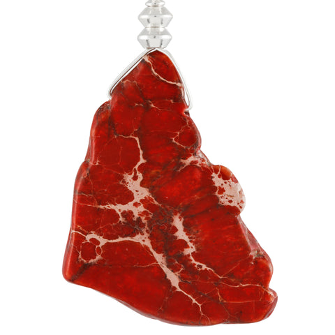 Irregular Shaped Jasper Stone Necklace With Red Tint