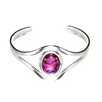Dark Shocking Pink Abalone Shell Adjustable  Bangle Cuff Bracelet with Silver Plated Metal