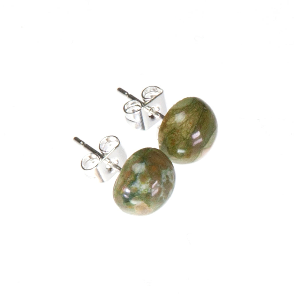 Rhyolite Mottled Green Stud Earrings