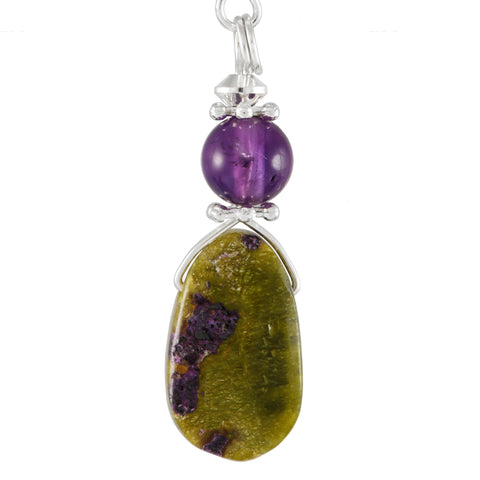 Stitchtite and Amethyst Purple and Green Drop Earrings with Silver Plated Details