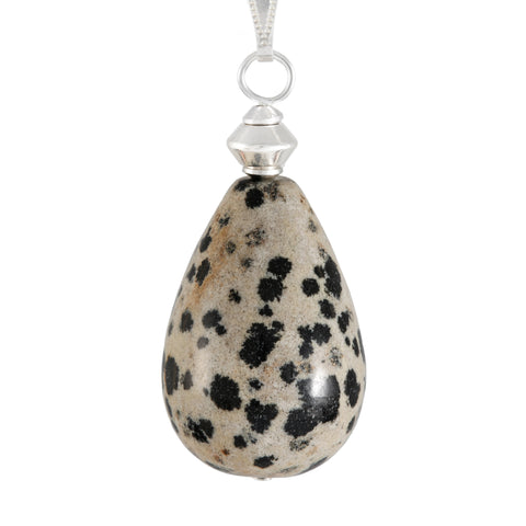 Dalmation Jasper Large Cream and Black Teardrop Necklace with silver plated snake chain
