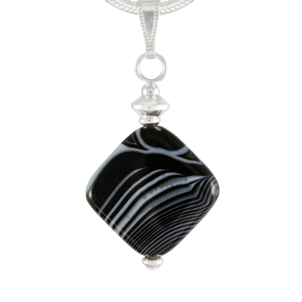 Banded Agate Black and White Diamond Shaped Agate Pendant on Silver Plated Snake Chain