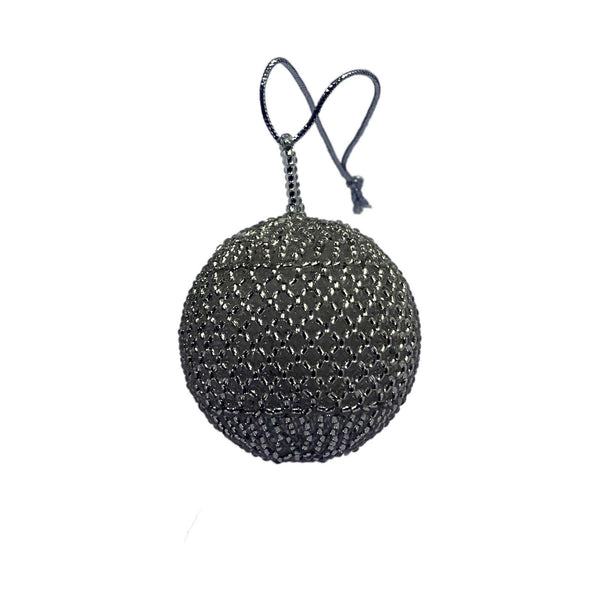 Small Silver Beaded Ball Tree Ornament - Set of 6