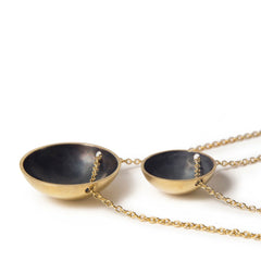 Gold & Charcoal Bowl Domed Necklace