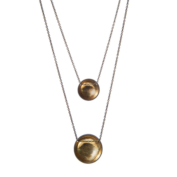 Charcoal & Gold Bowl Domed Necklace