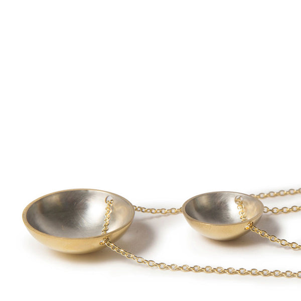 Gold & Silver Bowl Domed Necklace