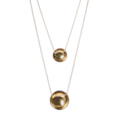 Silver & Gold Bowl Domed Necklace