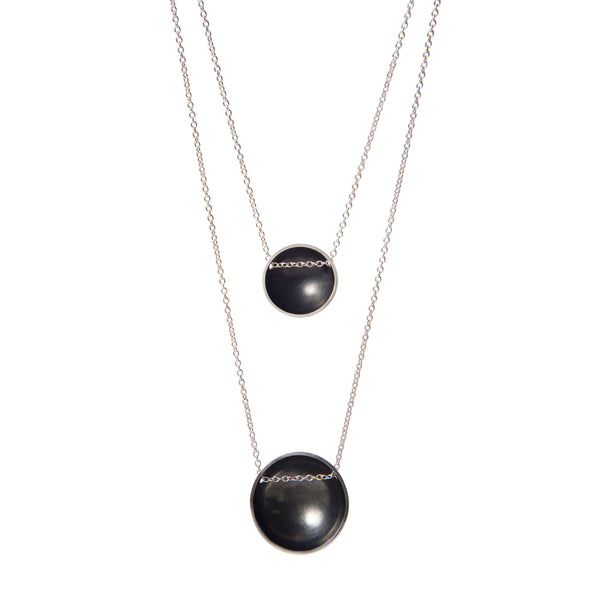 Silver & Charcoal Bowl Domed Necklace