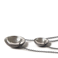 Charcoal & Silver Bowl Domed Necklace