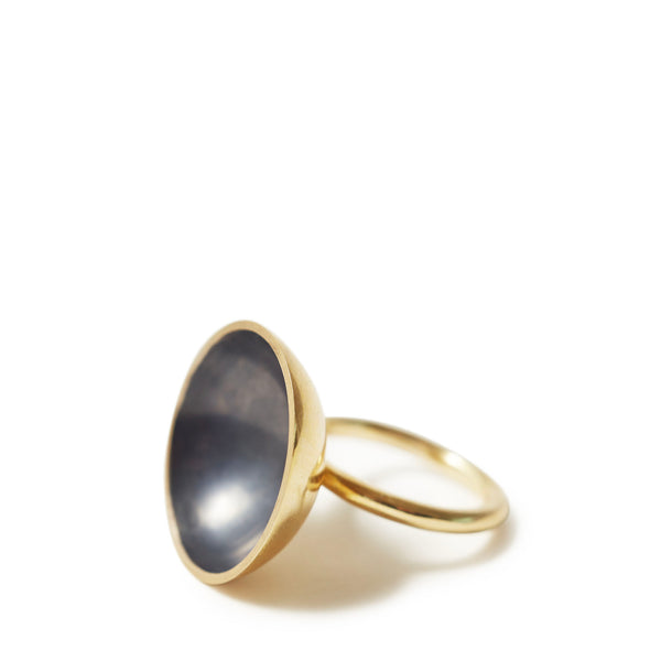 Gold & Charcoal Bowl Domed Ring