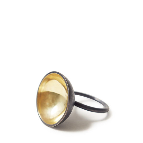 Charcoal & Gold Bowl Domed Ring