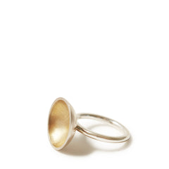 Silver & Gold Bowl Domed Ring