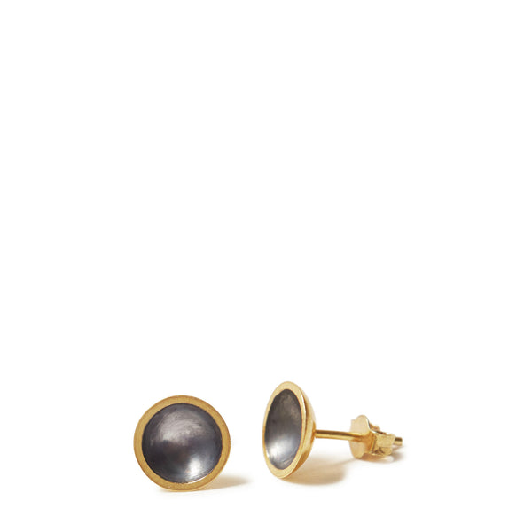 Gold & Charcoal Domed Earrings
