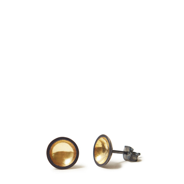 Charcoal & Gold Domed Earrings