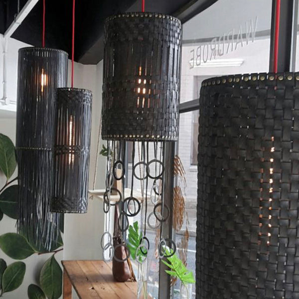 Up-cycled Handwoven Rubber Ceiling Lampshade