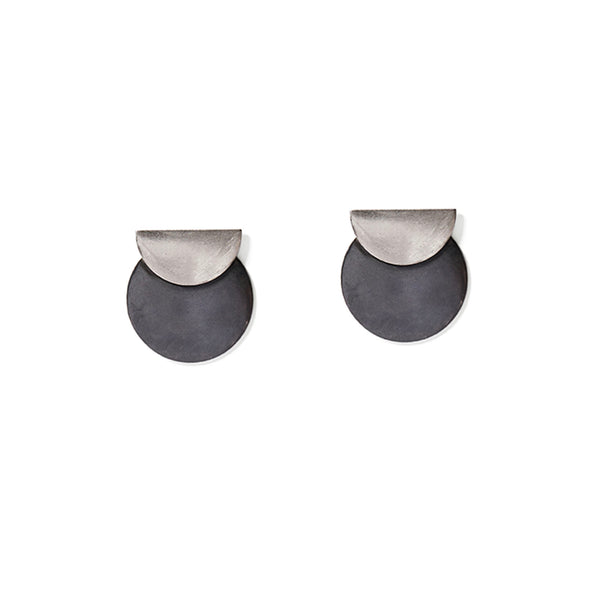 Charcoal & Silver Full & Half Disc Earrings