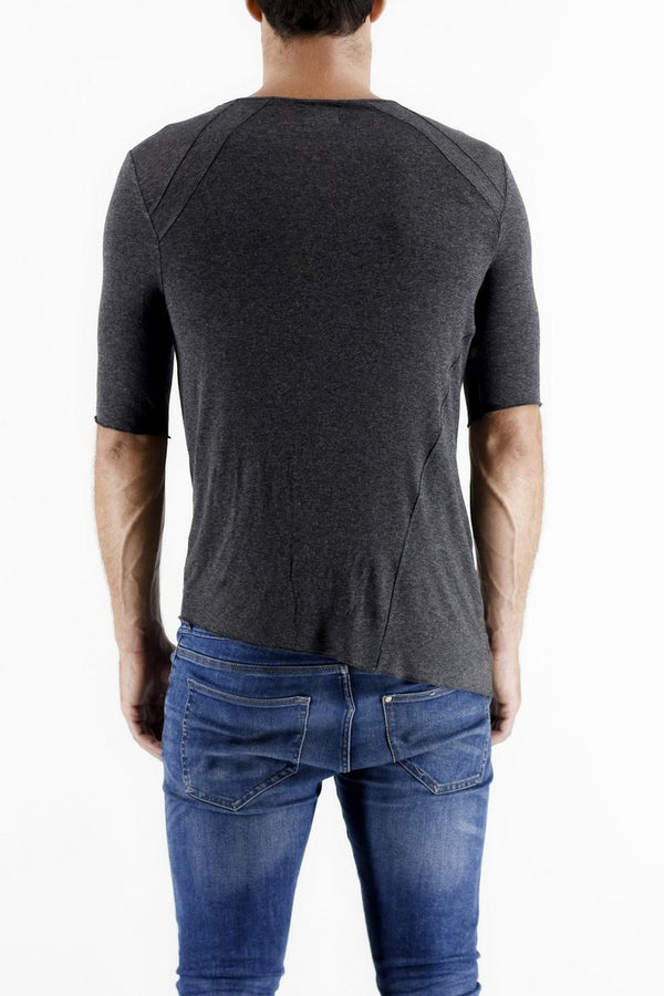 Dark Grey Melange 3/4 Sleeve T-shirt