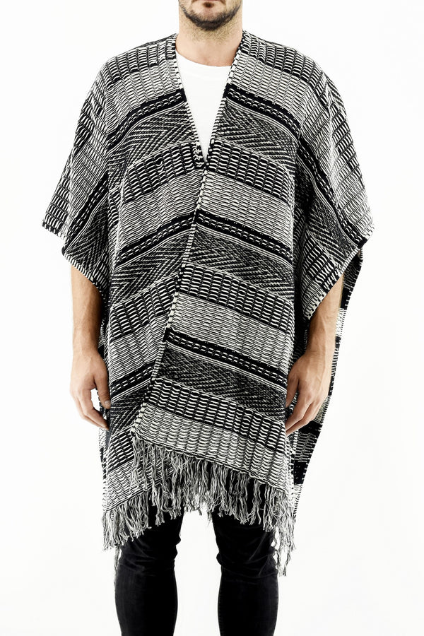 Mens Knitwear - Tassled Ethnic Poncho with Split Front