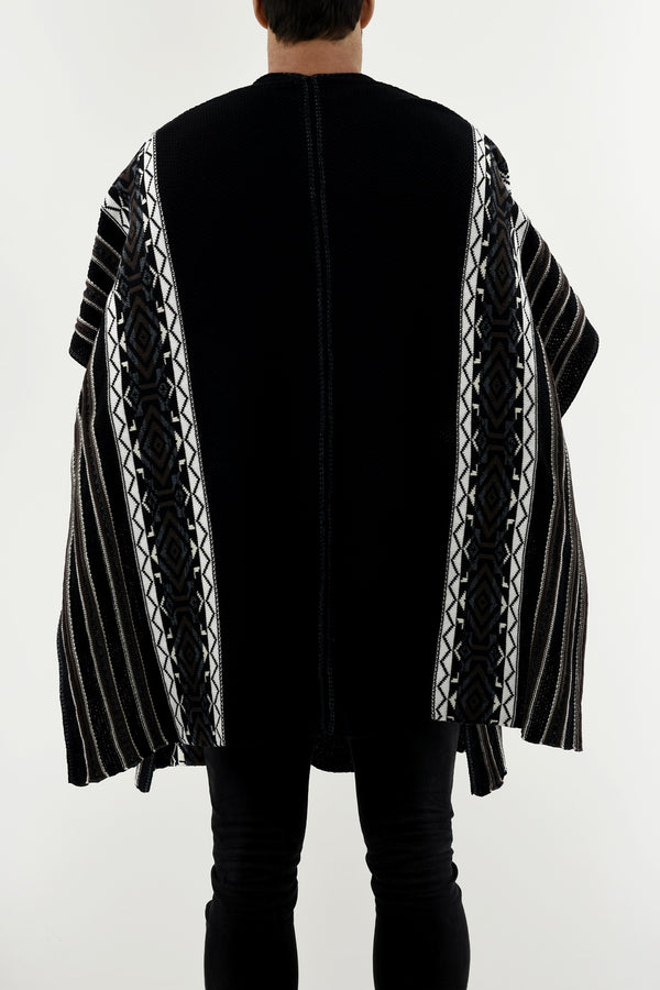 Mens Knitwear Cotton Ethnic Border Poncho Black & White